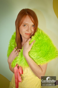 Crazy Neon Green Monster Fur Shrug with Pink Lining & Pink Polka Dot Ties