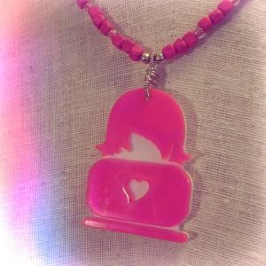 Lasercut Geek Girl Necklace